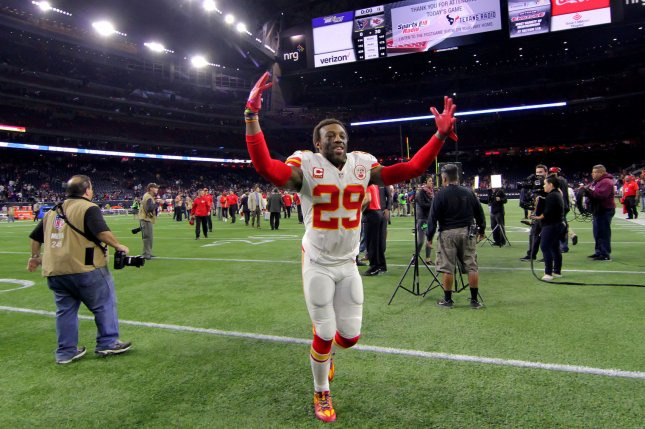 Kansas City Chiefs strong safety Eric Berry (29) waves to the fans as he leaves the field following the Chiefs' 30-0 win over the Houston Texans in the NFL Wild Card Round game in 2016 at NRG Stadium in Houston. File photo by Erik Williams/UPI