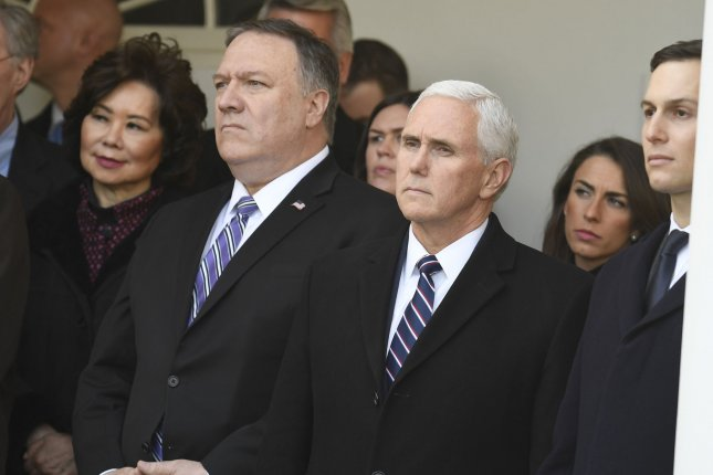 Secretary of State Mike Pompeo and Vice President Mike Pence will represent the United States in the Warsaw summit Wednesday and Thursday.. Photo by Mike Theiler/UPI