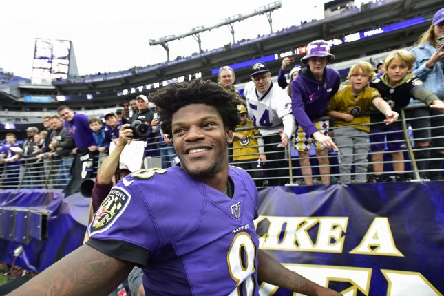 Baltimore Ravens quarterback Lamar Jackson smiles after a 23-17 win over the Cincinnati Bengals on Sunday at M&T Bank Stadium in Baltimore, Maryland. Photo by David Tulis/UPI