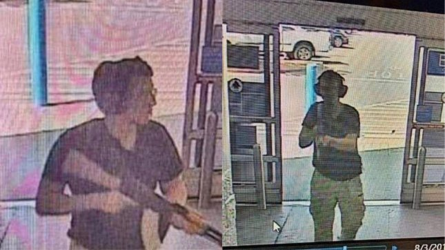A surveillance stills show alleged gunman Patrick Crusius holding a rifle as he enters a Walmart store at the start of his mass shooting that left 22 people dead, in El Paso, Texas, in August 2019. UPI Photo