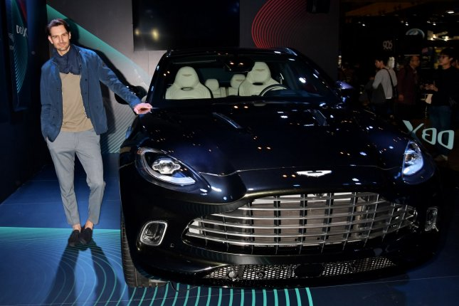 Aston Martin DBX is seen displayed the Tokyo Auto salon 2020 at Makuhari messe in Chiba-Prefecture, Japan on Jan. 10. The carmaker, along with Bentley and McLaren have announced job cuts totaling nearly 3,000 the past week. Photo by Keizo Mori/UPI