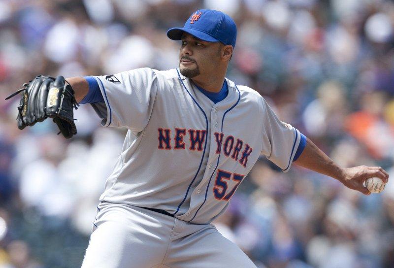 New York Mets pitcher Johan Santana Coors Field in Denver, April 29, 2012. UPI/Gary C. Caskey