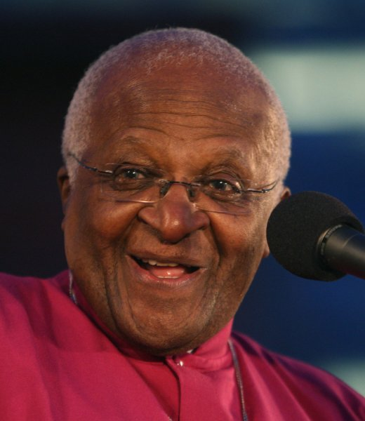 U.S. first lady Michelle Obama met with Nobel peace laureate Archbishop Desmond Tutu Thursday and urged young South Africans to stay healthy.. (UPI Photo/Terry Schmitt)