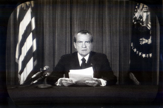President Nixon resigns from the Office of the President, August 8, 1974 following his role in the Watergate scandal. UPI/FILE