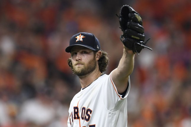 Houston Astros starting pitcher Gerrit Cole salutes the fans in the eighth inning after recording 15 strikeouts in 7 2/3 innings against the Tampa Bay Rays during the American League Division Game 2 at Minute Maid Park in Houston on Saturday. Photo by Trask Smith/UPI