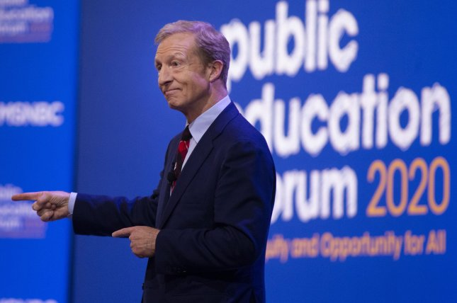 Tom Steyer answers questions at the Public Education Forum 2020: Equity and Justice for All on Saturday in Pittsburgh.  He gave a speech on his economic platform Monday in Iowa. Photo by Archie Carpenter/UPI