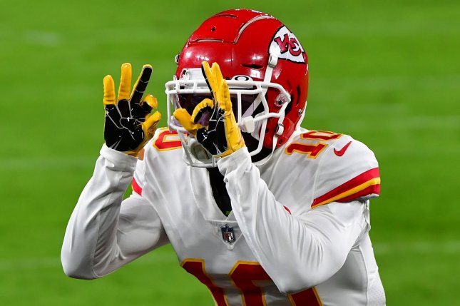 Kansas City Chiefs wide receiver Tyreek Hill has scored in three consecutive games and is my No. 1 wide receiver for Week 4. Photo by David Tulis/UPI