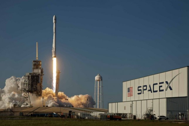 A SpaceX Falcon 9 rocket launches at the Kennedy Space Center in Florida. File Photo by Joe Marino-Bill Cantrell/UPI