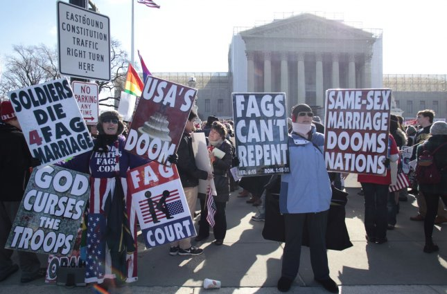 Opponents of same-sex marriage rally in front of the U.S. Supreme Court as the Court hears arguments on same-sex marriage, on March 27, 2013 in Washington. The high court heard arguments today on the constitutionality of the 1996 Defense of Marriage Act (DOMA). UPI/Yuri Gripas