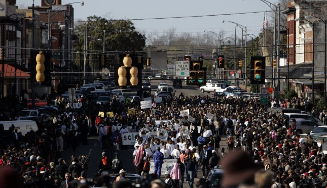 Hundreds of people gather in Selma, Ala., in March 2007 to commemorate the Selma-to-Montgomery civil rights marches of 1965, when two attempts stopped at the Edmund Pettus Bridge in Selma and a third succeeded in reaching Montgomery. File Photo by Mark Cowan/UPI
