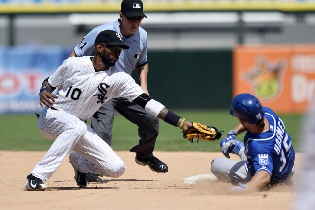 Kansas City Royals' Eric Hosmer slides safely into second base with a double as Chicago White Sox shortstop Alexei Ramirez tries to tag him out during the sixth inning at U.S. Cellular Field on July 17, 2015 in Chicago. Photo by Brian Kersey/UPI