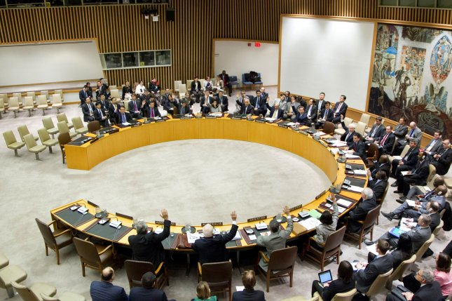 Iran violated international sanctions when it fired a medium-range ballistic missile in October because it was capable of carrying a nuclear weapon, according to the United Nations. The U.N. Security Council has not determined what actions to take, if any, against Iran, but said the council could not allow Iran to feel it could violate its resolutions with impunity. File photo by Rick Bajornas/UPI