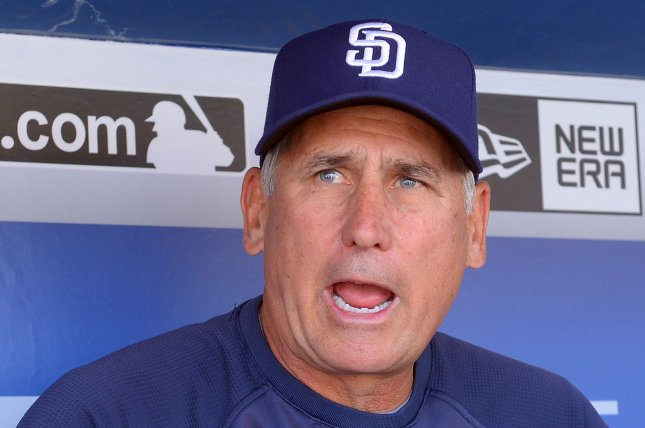 Former San Diego Padres manager Bud Black speaks with reporters prior to the Los Angeles Dodgers opener against the San Diego Padres at Dodgers Stadium in Los Angeles on April 6, 2015. Photo by Jim Ruymen/UPI