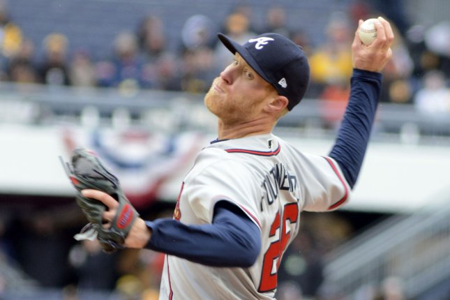 Atlanta Braves starting pitcher Mike Foltynewicz (26) throws in the first inning. File photo by Archie Carpenter/UPI
