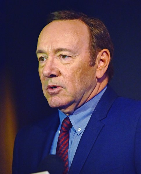 Kevin Spacey speaks with television reporters as he arrives at the Netflix FYSee Space in Beverly Hills on May 8, 2017. On Friday, Spacey's Billionaire Boys Club earned just $126 in 10 theaters on its opening day. File Photo by Christine Chew/UPI