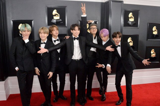 BTS arrives for the 61st annual Grammy Awards in Los Angeles on Sunday. Photo by Jim Ruymen/UPI