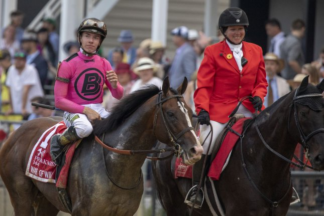 War of Will, shown at the Preakness Stakes with jockey Tyler Gaffalione aboard, is expected to compete in the Belmont Stakes in three weeks. Photo by Tasos Katopodis/UPI