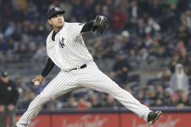 Former New York Yankees relief pitcher Dellin Betances was the first reliever in league history to have 100 or more strikeouts in five straight seasons. File Photo by John Angelillo/UPI