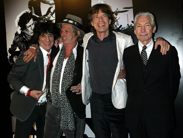 The Rolling Stones (L-R) Ron Wood, Keith Richards, Mick Jagger and Charlie Watts arrive for the premiere of Shine a Light at the Ziegfeld Theater in New York on March 30, 2008. (UPI Photo/Laura Cavanaugh)