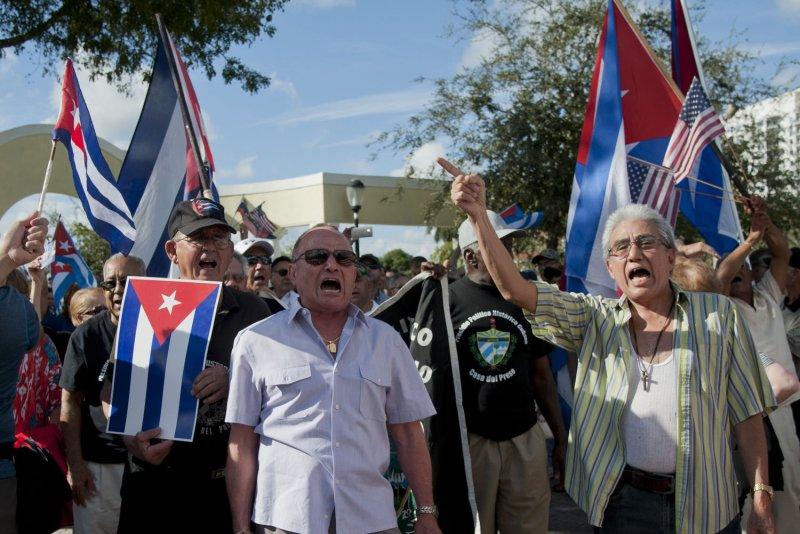 Anti-Castro protester gather in Jose Marti park in Little Havana, Miami, Florida, Dec. 20, 2014. UPI/Gary I Rothstein