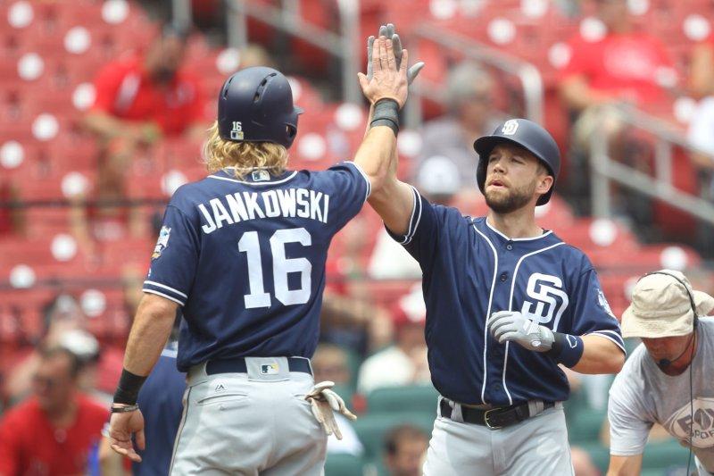 San Diego Padres' Ryan Schimpf (R) is congratulated by Travis Jankowski. Photo by Bill Greenblatt/UPI