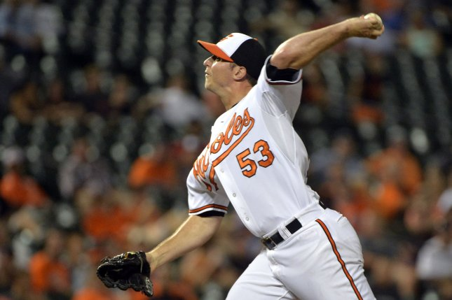 Former Baltimore Orioles closer Zach Britton pitches in the ninth inning against the Cincinnati Reds on September 4, 2014 at Orioles Park at Camden Yards in Baltimore. File photo by Kevin Dietsch/UPI
