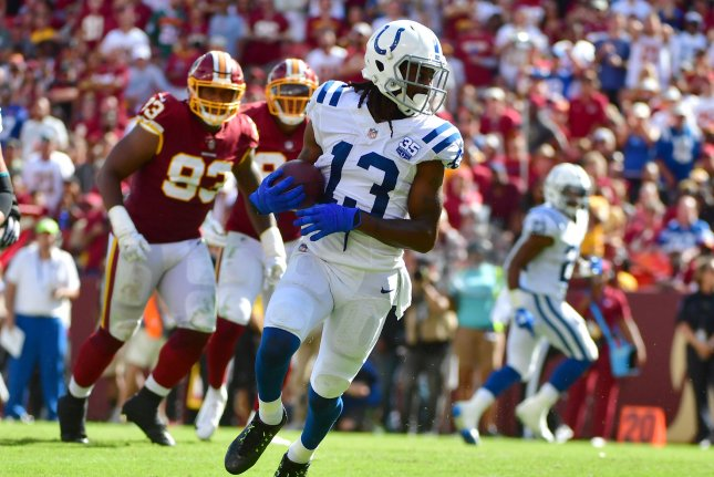 Indianapolis Colts wide receiver T.Y. Hilton (13) brings in a three-yard touchdown against the Washington Redskins in the fourth quarter on September 16, 2018 at FedEx Field in Landover, Maryland. Photo by Kevin Dietsch/UPI