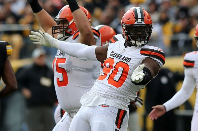 Cleveland Browns defensive end Emmanuel Ogbah (90) was traded to the Kansas City Chiefs for safety Eric Murray on Monday. File Photo by Aaron Josefczyk/UPI