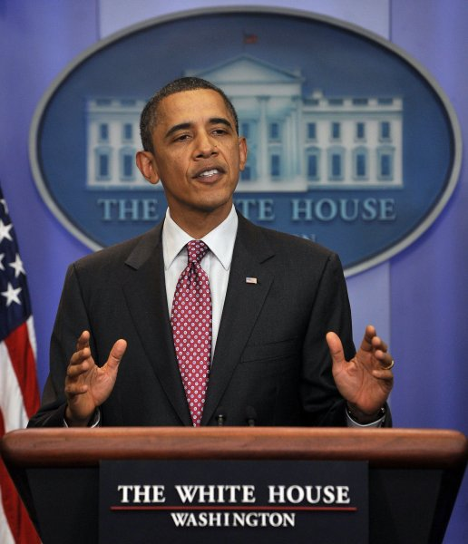 U.S. President Barack Obama bids farewell to Press Secretary Robert Gibbs in the Brady Press Briefing Room of the White House in Washington on February 11, 2011. Jay Carney will fill Gibbs' position. UPI/Roger L. Wollenberg