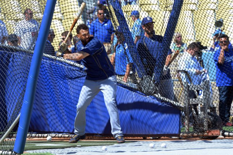 San Diego Padres outfielder Matt Kemp warms up. Photo by Jim Ruymen/UPI