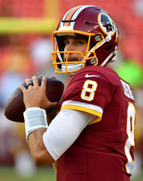 Washington Redskins quarterback Kirk Cousins prior to a preseason game against the Green Bay Packers last month. Photo by Kevin Dietsch/UPI