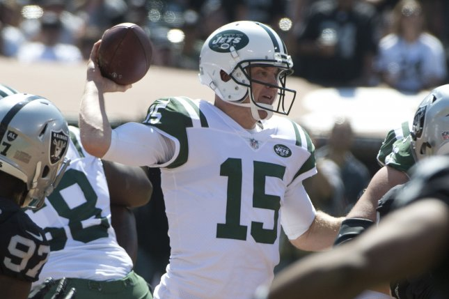 New York Jets QB Josh McCown throws against the Oakland Raiders in the second quarter at the Coliseum in Oakland, California on September 17, 2017. File photo by Terry Schmitt/UPI