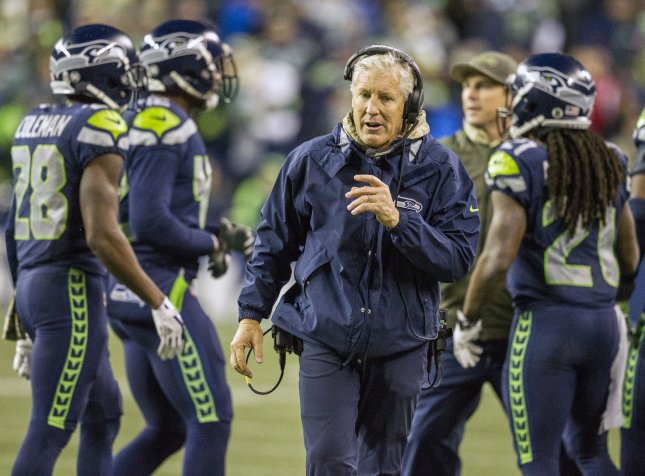 Seattle Seahawks coach Pete Carroll gives instructions on the sidelines during a game against the Atlanta Falcons in November. Photo by Jim Bryant/UPI
