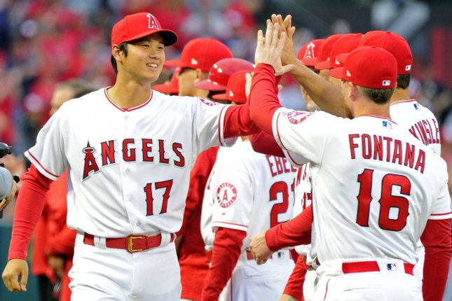 Los Angeles Angels designated hitter Shohei Ohtani (17) is introduced before the game against the Cleveland Indians on Monday at Angel Stadium in Anaheim, California. Photo by Lori Shepler/UPI
