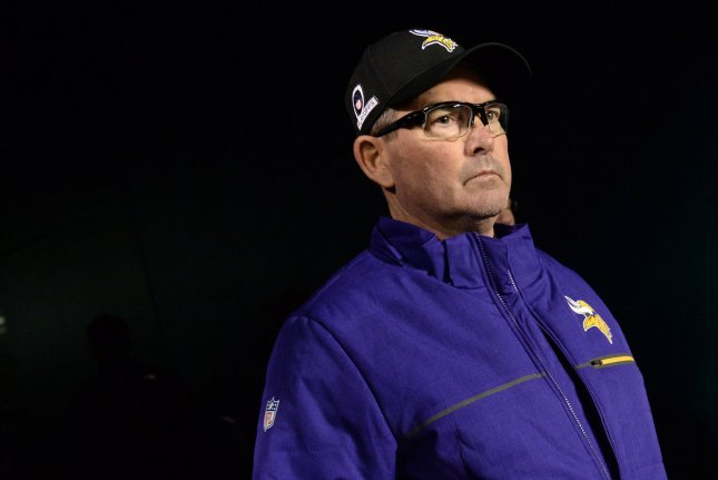 Minnesota Vikings head coach Mike Zimmer takes the field before a game against the Philadelphia Eagles in the NFC Championship Game on January 21, 2018 at Lincoln Financial Field in Philadelphia. Photo by Kevin Dietsch/UPI