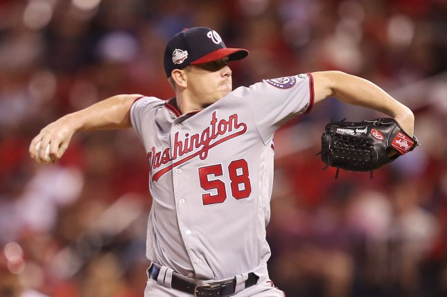Washington Nationals starting pitcher Jeremy Hellickson is returning to the club in 2019 after agreeing to a one-year contract with the National League East franchise. Photo by Bill Greenblatt/UPI