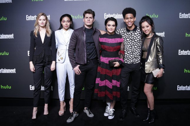 Virginia Gardner, Allegra Acosta, Gregg Sulkin, Ariela Barer, Rhenzy Feliz and Lyrica Okano (left to right) play the runaways on Marvel's Runaways. File Photo by John Angelillo/UPI