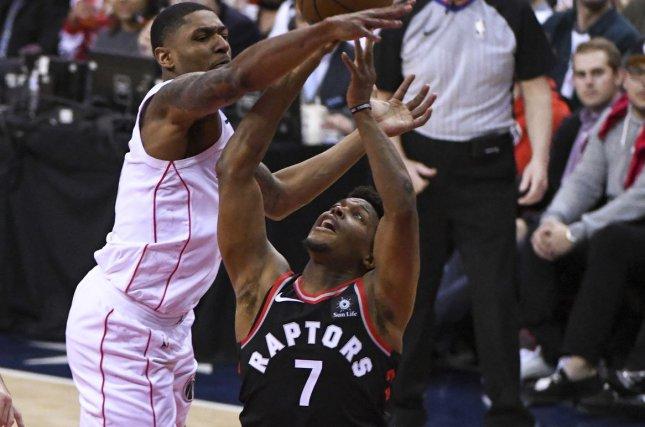 Toronto Raptors guard Kyle Lowry is one win away from his first NBA Finals championship. Photo by Mark Goldman/UPI