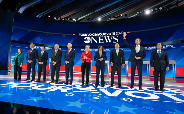 The fifth round of Democratic presidential debates will be held in Georgia in November, the Democratic National Committee announced. Photo by Kevin Dietsch/UPI