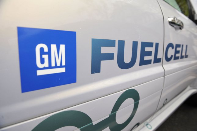 The GM Fuel Cell logo is seen on a Fuel Cell SUV during a demonstration of Energy-efficient vehicles at the White House in Washington on April 22, 2009. (UPI Photo/Kevin Dietsch)