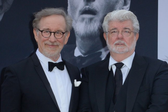 Directors Steven Spielberg (L) and George Lucas attend American Film Institutes' 44th Life Achievement Award gala tribute to composer John Williams in Los Angeles on June 9, 2016. A documentary called Spielberg is to debut on HBO Oct. 7. File Photo by Jim Ruymen/UPI