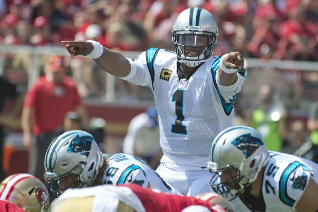 Carolina Panthers QB Cam Newton changes the call against the San Francisco 49ers in the first quarter on September 10 at Levi's Stadium in Santa Clara, Calif. Photo by Terry Schmitt/UPI
