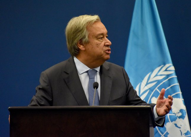 United Nations Secretary General Antonio Guterres holds a joint press conference with Palestinian Prime Minister Rami Hamdallah in Ramallah, West Bank, August 29, 2017. File photo by Debbie Hill/UPI