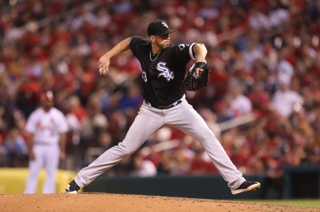 Chicago White Sox starting pitcher James Shields delivers a pitch to the St. Louis Cardinals in the fifth inning at Busch Stadium in St. Louis on May 1, 2018. Photo by Bill Greenblatt/UPI