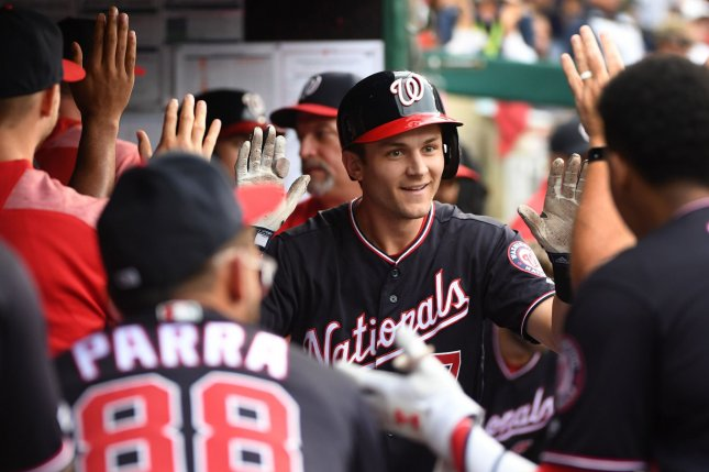 Washington Nationals shortstop Trea Turner (C) is hitting .286 with eight home runs and 25 RBIs after hitting for his second career cycle Tuesday in Washington, D.C. Photo by Kevin Dietsch/UPI