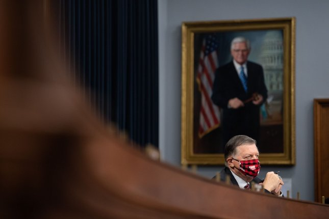 Rep. Tom Cole, R-Okla., participates in a House appropriations subcommittee hearing on Wednesday. Photo by Kevin Dietsch/UPI