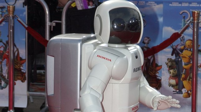 Asimo the Honda robot arrives to the world premiere of Robots on March 6, 2005, in Los Angeles. (UPI Photo/John Hayes)