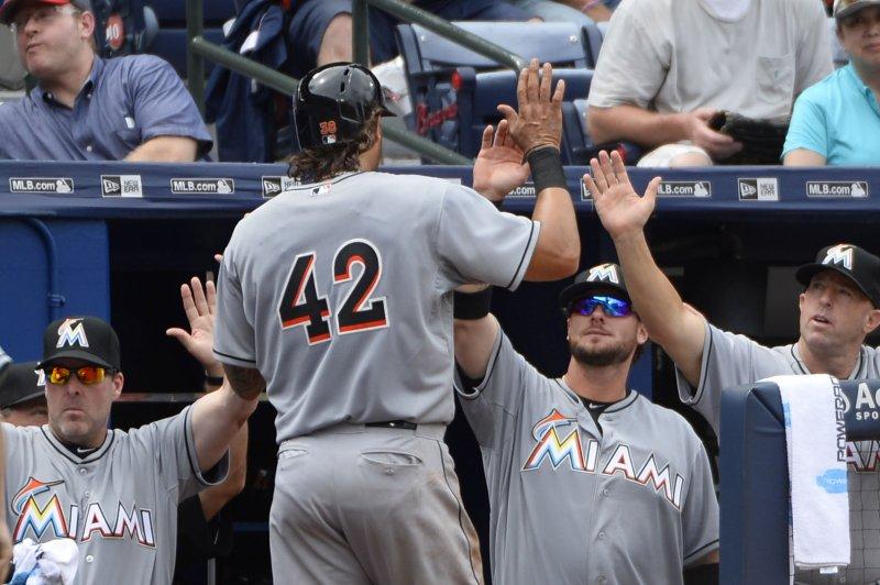 Miami Marlins' Michael Morse. Photo by David Tulis/UPI