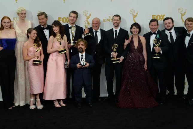 The cast and crew of Game of Thrones, winners of the award for Outstanding Drama Series, pose at the 67th Primetime Emmy Awards in Los Angeles on September 20, 2015. File Photo by Jim Ruymen/UPI