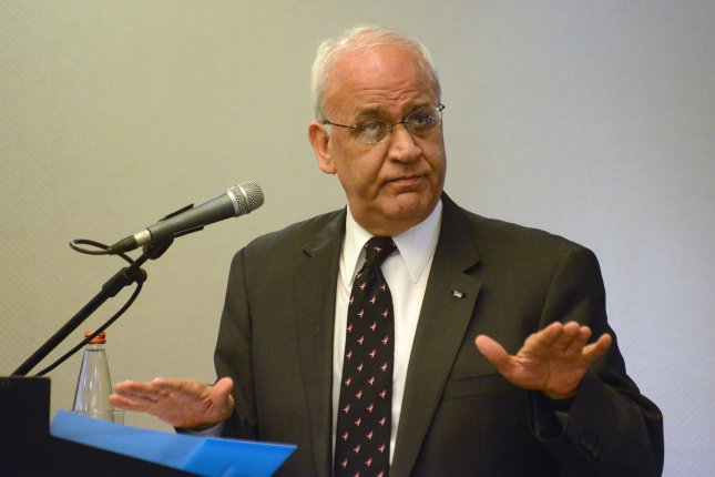 Chief Palestinian negotiator Saeb Erekat on Tuesday said Palestinians would reject all U.S.-led peace talks concerning the Israeli-Palestinian conflict until President Donald Trump rescinds U.S. recognition of Jerusalem as the capital of Israel. Photo by Debbie Hill/UPI